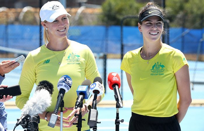 Alicia Molik (L) and Ajla Tomljanovic chat to the press ahead of Australia's Fed Cup final against France in Perth. (Getty Images)