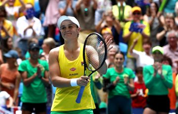 Ash Barty celebrates her dominant victory over Caroline Garcia in the second rubber of the Australia v France Fed Cup final in Perth. (Getty Images)