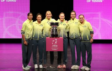 Australia's Fed Cup team at the official Fed Cup final draw ceremony at Perth's State Theatre. (Getty Images)
