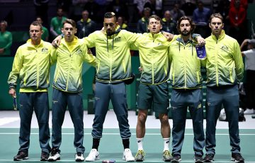 The Australian Davis Cup team stands for the national  anthem prior to its Davis Cup quarterfinal against Canada in Madrid. (Getty Images)