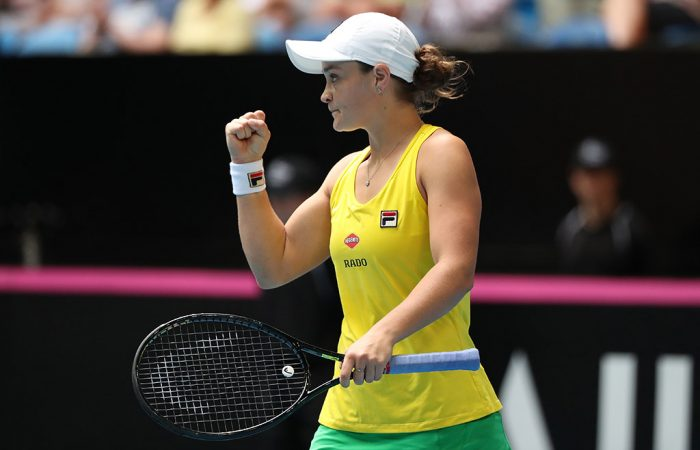 Ash Barty in action during the second singles rubber of Australia's Fed Cup final against France in Perth. (Getty Images)