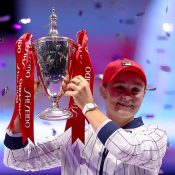 Ash Barty poses with the Billie Jean King Trophy after winning the WTA Finals in Shenzhen. (Getty Images)
