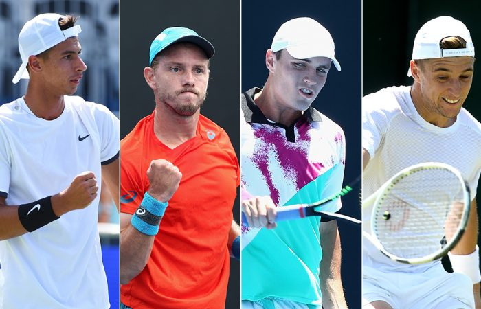 (L-R) Alexei Popyrin, James Duckworth, Chris O'Connell and Andrew Harris were Australian men who enjoyed notable rankings improvements in 2019. (Getty Images)