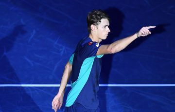 Alex de Minaur celebrates his semifinal victory over Frances Tiafoe at the Next Gen ATP Finals in Milan. (Getty Images)