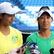 Astra Sharma (L) and Priscilla Hon chat to the media ahead of the 2019 Fed Cup final in Perth. (Getty Images)