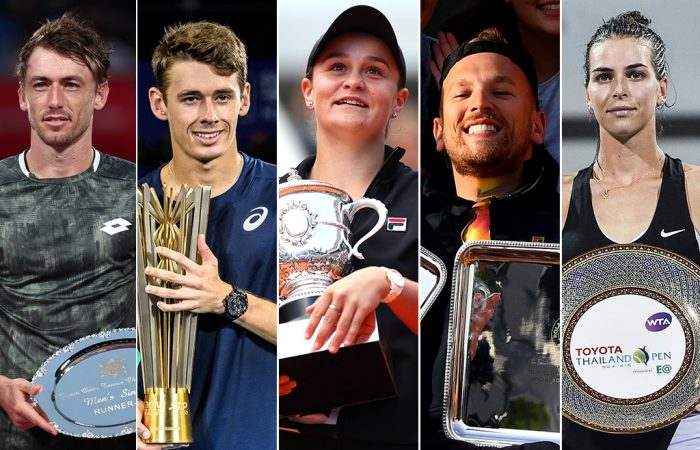 2019 Newcombe Medal nominees (L-R) John Millman, Alex de Minaur, Ash Barty, Dylan Alcott and Ajla Tomljanovic (Getty Images)