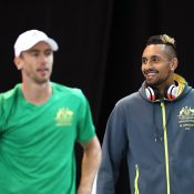 John Millman (L) and Nick Kyrgios during an Australian Davis Cup team training session in Madrid. (Getty Images)