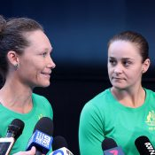 Sam Stosur (L) and Ash Barty chat to the media at RAC Arena ahead of this weekend's Fed Cup final in Perth. (Getty Images)