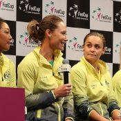 Sam Stosur speaks during the Fed Cup draw ceremony ahead of the Australia v France 2019 final in Perth. (Getty Images)