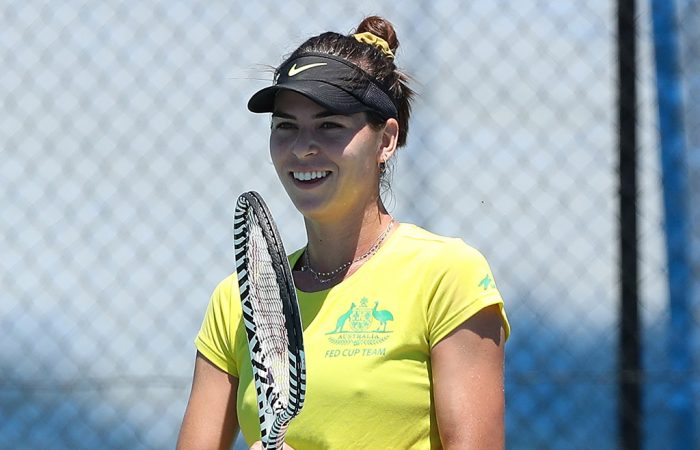 Ajla Tomljanovic during an Australian team practice session in Perth ahead of the Fed Cup final. (Getty Images)