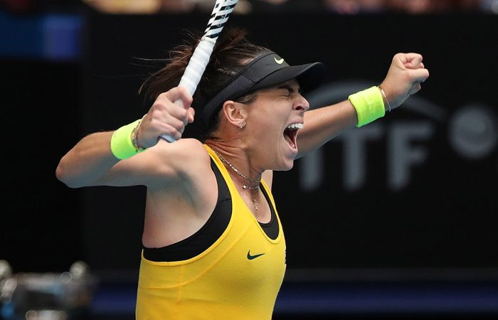 Ajla Tomljanovic celebrates her victory over Pauline Parmentier in the second of the reverse singles rubbers in the Australia v France Fed Cup final in Perth. (Getty Images)