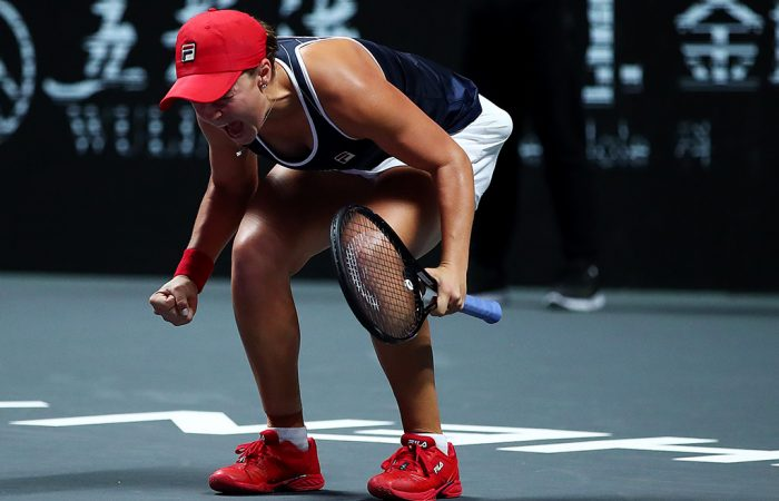 SHENZHEN, CHINA - NOVEMBER 03: Ashleigh Barty of Australia celebrates match point and winning her Women's Singles final match over Elina Svitolina of Ukraine on Day Eight of the 2019 Shiseido WTA Finals at Shenzhen Bay Sports Center on November 03, 2019 in Shenzhen, China. (Photo by Clive Brunskill/Getty Images)