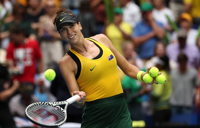 Ajla Tomljanovic celebrates her first singles win for Australia during the 2019 Fed Cup final against France in Perth. (Getty Images).