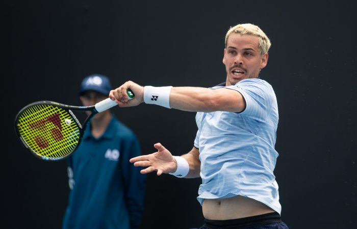FINDING FORM: Alex Bolt in action during the AO Play-off at Melbourne Park in December. Picture: Tennis Australia