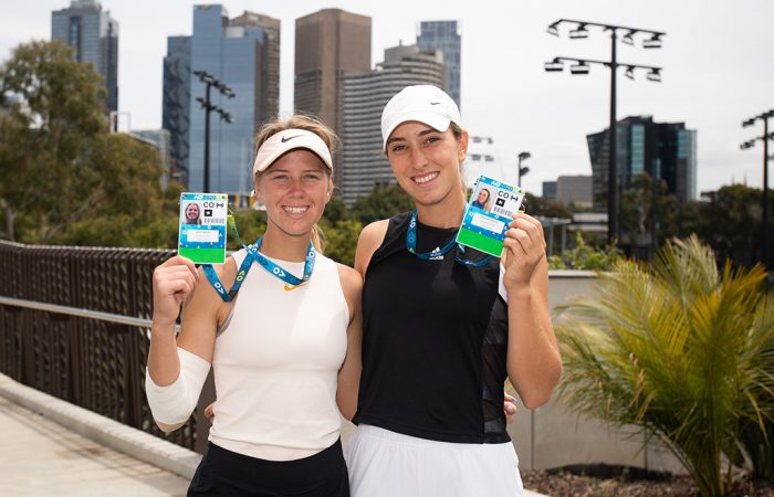 Alexandra Bozovic (R) and Amber Marshall celebrate their AO Play-off doubles victory on Friday at Melbourne Park. (Photo: Elizabeth Bai/Tennis Australia)