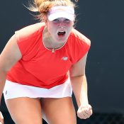 Charlotte Kempenaers-Pocz celebrates victory in her 18/u semifinal against Annerly Poulos during the December Showdown. (Getty Images)