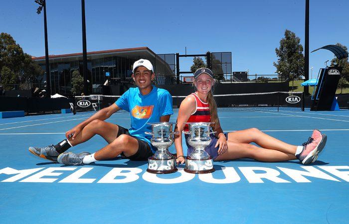 Australian 14/u champions Alexander Despoja (L) and Taylah Preston at Melbourne Park. (Getty Images)