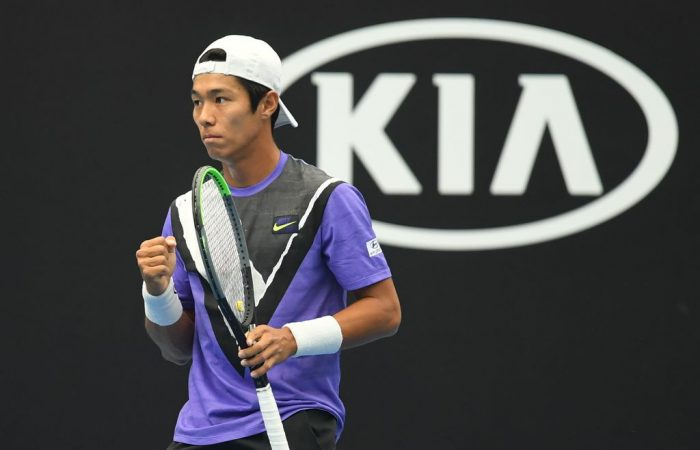 Duckhee Lee in action during the Asia- Pacific Wildcard Play-off in Zhuhai, China. (Photo: Elizabeth Bai/Tennis Australia)