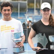 James McCabe (L) and Talia Gibson are the 16/u Australian champions in 2019 at the December Showdown (photo: Elizabeth Bai/Tennis Australia)