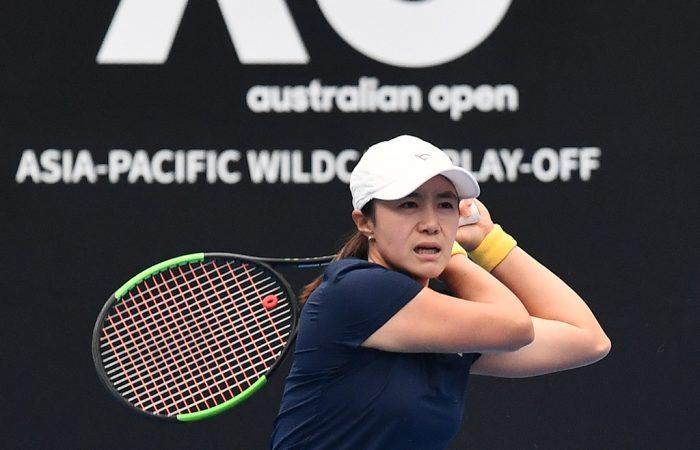 Na-Lae Han in action at the Australian Open 2020 Asia-Pacific Wildcard Play-off. (photo: Elizabeth Bai/Tennis Australia)