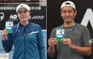 Na-Lae Han (L) and Tatsuma Ito win Australian Open 2020 wildcards after triumphing at the Asia-Pacific Wildcard Play-off in Zhuhai, China. (photo: Elizabeth Bai/Tennis Australia)