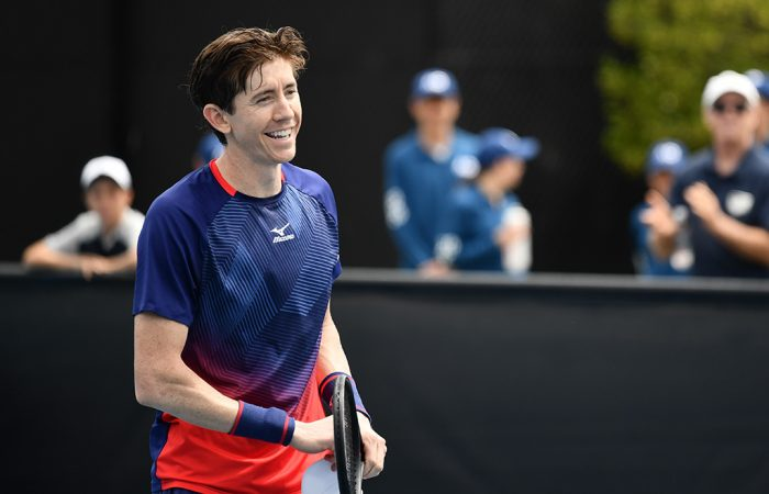 John-Patrick Smith reacts following his victory over Max Purcell in the final of the AO Play-off. (Photo: Elizabeth Bai/Tennis Australia)