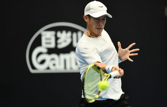 Jason Jung in action at the Australian Open 2020 Asia-Pacific Wildcard Play-off. (photo: Elizabeth Bai/Tennis Australia)