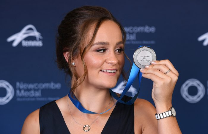 Ash Barty wins the 2019 Newcombe Medal. (Getty Images)