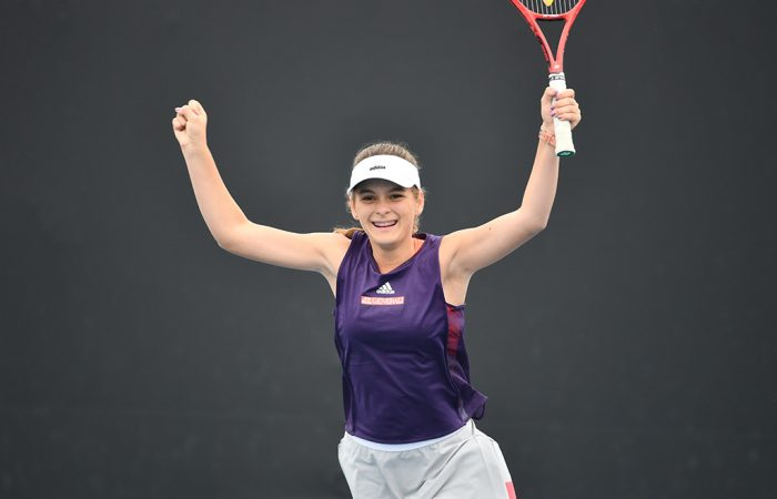 Alana Subasic celebrates her victory in the 12/u Australian Championships girls' final at Melbourne Park. (photo: Elizabeth Bai/Tennis Australia)