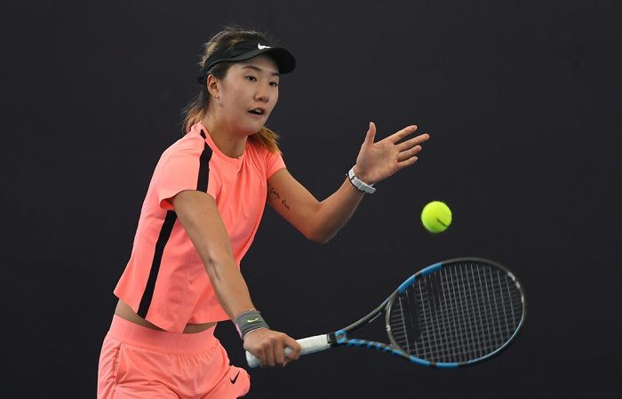 Tang Qianhui at the Asia-Pacific Wildcard Play-off (photo: Elizabeth Bai/Tennis Australia)