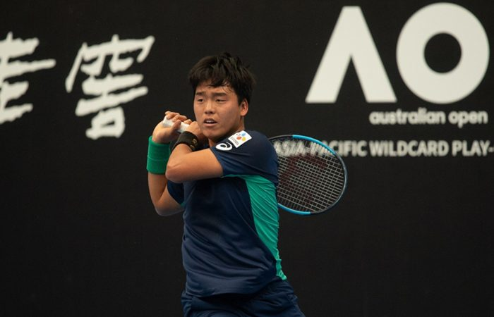 Yunseong Chung in action at the 2019 AO Asia-Pacific Wildcard Play-off (photo: Elizabeth Bai)