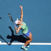 Ash Barty serves to Petra Kvitova during her quarterfinal victory over the Czech at Australian Open 2020. (Getty Images)
