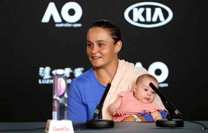 Ash Barty with her baby niece Olivia; Getty Images