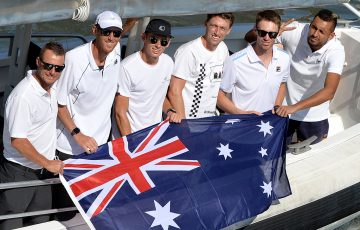Australia's ATP Cup team of (L-R) Lleyton Hewitt, Chris Guccione, Alex de Minaur, John Millman, John Peers and Nick Kyrgios in Brisbane. (Getty Images)