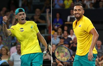 Alex de Minaur (L) and Nick Kyrgios won their singles matches to hand Australia victory over Germany at the ATP Cup. (Getty Images)
