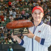 Ash Barty poses with the trophy after winning the WTA Adelaide International. (Getty Images)