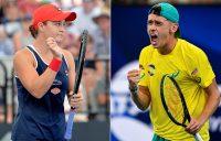 Ash Barty (L) and Alex de Minaur. (Getty Images)
