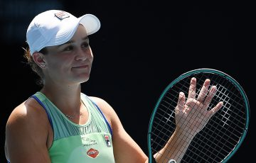 Ash Barty celebrates her quarterfinal victory over Petra Kvitova at Australian Open 2020. (Getty Images)