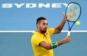 Nick Kyrgios of Australia hits a return during his men's singles match against Cameron Norrie of Britain at the ATP Cup tennis tournament in Sydney on January 9, 2020. (Photo by William WEST / AFP) / --IMAGE RESTRICTED TO EDITORIAL USE - NO COMMERCIAL USE-- (Photo by WILLIAM WEST/AFP via Getty Images)