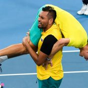 Nick Kyrgios and Alex de Minaur celebrate Team Australia's epic quarterfinal victory at the ATP Cup in Brisbane; Getty Images