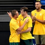 Team Captain Lleyton Hewitt celebrates with John Millman and Nick Kyrgios at the ATP Cup in Brisbane; Getty Images