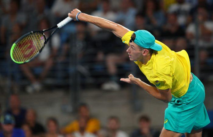 Alex de Minaur at the ATP Cup semifinals in Sydney; Getty Images