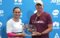 Ash Barty and coach Craig Tyzzer, who won the 2019 WTA Coach of The Year Award; Getty Images