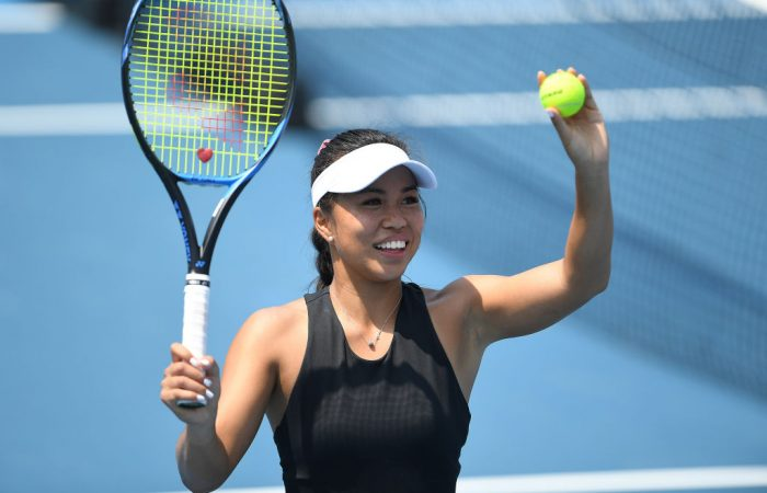 Lizette Cabrera of Australia celebrates her first round win against Caroline Garcia of France during day four at the 2020 Hobart International; Getty Images