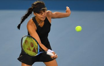 FOCUSED: Lizette Cabrera in action during her Hobart International quarterfinal. Picture: Getty Images