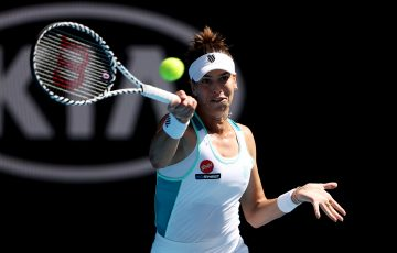MOVING ON: Ajla Tomljanovic fires a forehand during her first round win at Australian Open 2020. Picture: Getty Images