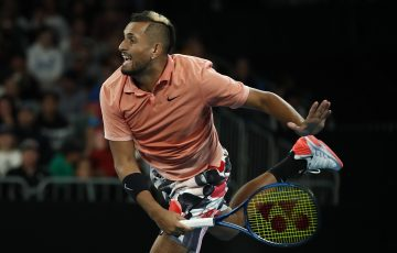 ON SERVE: Nick Kyrgios in action during his first round victory at Australian Open 2020. Picture: Getty Images