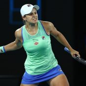 Ash Barty celebrates victory over Alison Riske at the Australian Open; Getty Images