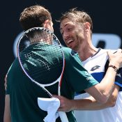 John Millman (R) congratulates Ugo Humbert after winning their Australian Open first-round match. (Getty Images)