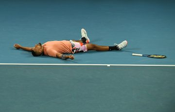 Nick Kyrgios celebrates his five-set win over Karen Khachanov in the third round of Australian Open 2020. (Getty Images)